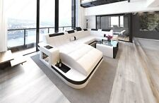 Leather Sofa WAVE U-shaped LED Luxury Design Corner couch Megasofa white black