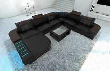 Corner sofa Interior design BELLAGIO XXL black dark brown with LED lighting