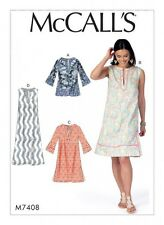 Free UK P&P - McCalls Ladies Easy Sewing Pattern 7408 Notched Tunic Tops ...