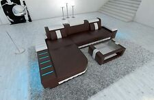 Leather sofa BELLAGIO L Form Designer Sofa with LED Corner couch dark brown