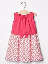 NWT babyGap Gap Pink and White Knot Linedf Dress Size 12-18-24 M & 2 2T