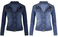 New Womens Mid Wash Blue Denim Chest Pocket Button Long Sleeve Jean Jacket Coat