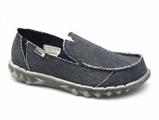 Hey Dude FARTY CLASSICS Mens Canvas Denim Slip on Wide Shoes Navy Blue Stonewash