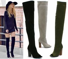 WOMENS LADIES THIGH HIGH OVER THE KNEE BOOTS HIGH BLOCK HEELS SEXY PEEPTOE