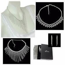 Damen Collier Schmuck Sets in Strass Stein Elegant Halskette mit Ohrring