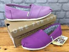 TOMS LADIES UK 3, 4, 5, 6, 7 CLASSIC SEAS PURPLE SLIP ON FLATS BEACH PUMPS