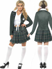 Preppy Schoolgirl Costume Ladies School Girl Fancy Dress Outfit Sizes 8-18