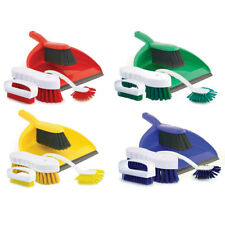 Charles Bentley 4 Piece Colour Coded Home Kitchen Cleaning Set Dustpan and Brush