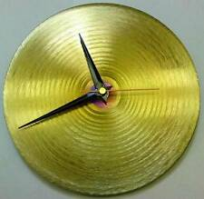 Gold Circle Metal Wall Clock Hand Crafted Time Piece Etched Stainless Steel Hour