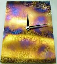 Rainbow Patina Rectangle Metal Wall Clock Hand Crafted Time Etched Stainless Ste