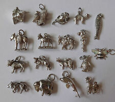 VINTAGE SILVER CHARMS ASSORTED ANIMALS DONKEY, COW, LION, FROG, BISON, BULL etc