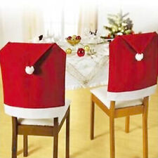 Christmas Decoration Red Santa Hat Chair Back Covers Ornament Chair Decor Set