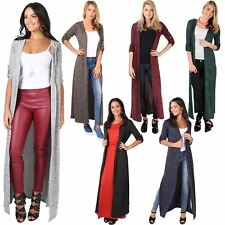 Womens Soft Knit Hooded Long Cardigan Sweater Shrug Tunic Top Duster Coat Winter