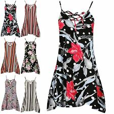 Ladies Party Floral Petal Sleeveless Mini Dress Womens Evening Lace Up Dress