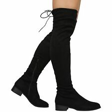 NEW WOMENS LADIES THIGH HIGH STRETCHY OVER THE KNEE LACE UP FLAT BOOTS SHOES