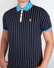 Fila Vintage Mk1 Settanta Polo Shirt in Navy & Malibu Blue - Borg BB1 80s Casual