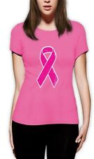 Breast Cancer Awareness - Distressed Pink Ribbon Women T-Shirt Fight Cancer