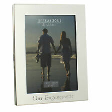 """Personalised Engraved Our Engagement Silver Plated  5 x 7 """" Photo Frame Gift"""