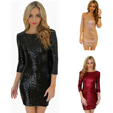 Femme Sexy Paillettes Dos-nu Paquet Hip Fin Robe Cocktail Mini Jupe