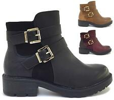LADIES WOMENS COMBAT ARMY MILITARY WORKER BUCKLE STRAP FLAT BIKER ZIP ANKLE BOOT