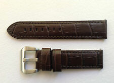 PANERAI REPLACEMENT CALF WATCH STRAP - DARK BROWN ALLIGATOR GRAIN 22MM & 24MM