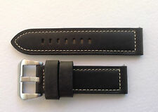 PANERAI REPLACEMENT WATCH STRAP BLACK/WHITE STITCHING 20MM-24MM  U BOAT/TW STEEL