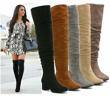 WOMENS LADIES THIGH HIGH OVER THE KNEE LOW HEEL ZIP SLOUCH FLATS BOOTS SIZE