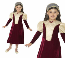 Tudor Damsel Princess Costume Girls Historical Fancy Dress Outfit S-L