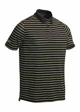 Glenmuir Scotland Short Sleeve Golf Polo Shirt Textured Stripe Black/Navy/White