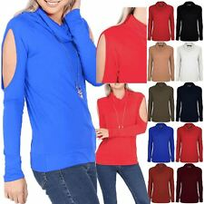 Womens Cold Shoulder Top Ladies Cowl Neck T Shirt Cut Out Summer Long Sleeve
