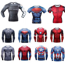 New Superhero Marvel Compression Top T-shirt Long Short Sleeve Tee Mens T Shirt