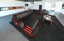 Sofa Palermo XXL with LED lighting Leather Interior design black red