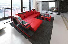 Leather Sofa RAVENNA L-Shape Luxury Sofa with LED lighting and USB red black
