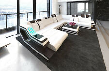Leather sofa RAVENNA XL with LED RGB Lighting USB white dark brown