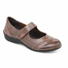 Padders DWELL Ladies Leather Extra Wide Fit Mary Jane Touch Fasten Shoes Brown