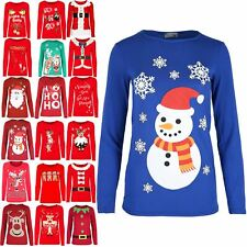 Womens Xmas T Shirts Ladies Reindeer Glitter Nose Minion Snowman Long Sleeve Top
