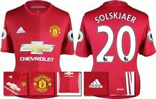 *16 / 17 - ADIDAS ; MAN UTD HOME SHIRT SS + PATCHES / SOLSKJAER 20 = SIZE*