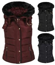 Womens Quilted Bodywarmer Coat Puffer Faux Fur Hooded Winter Vest Jacket Gilet