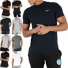 Mens Nike Plain Round Neck Short Sleeves Embroidered Swoosh Logo Gym T Shirt Top
