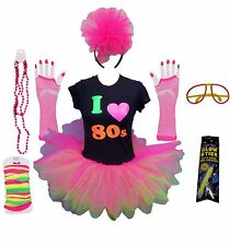 I LOVE 80S NEON TUTU SKIRT 80'S  PINK FANCY DRESS TSHIRT SET HEN PARTY BEADS FLO