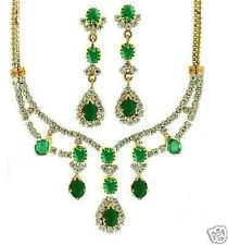 EXACT DIAMOND LOOK EMERALD CZ PENDANT EARRINGS + A GIFT
