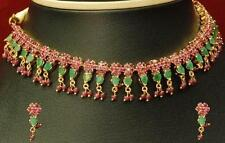 EYE-CATCHING RUBY EMERALD NECKLACE EARRINGS WITH HANGING BEADS + FREE GIFT