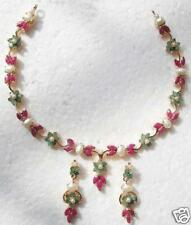 RUBY EMERALD PEARL NECKLACE EARRINGS + A FREE GIFT