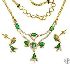 EMERALD OVEL & PEARS CZ PENDANT EARRINGS + GIFT