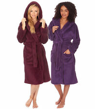LADIES SUPER SOFT COSY FLEECE SNUGGLE DRESSING GOWN ROBE LOUNGEWEAR BATHROBE