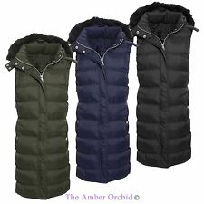 Brave Soul Womens Ladies Quilted Puffer Padded Gilet Fur Hooded Coat Jacket