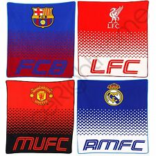 OFFICIAL FC FADE FLEECE BLANKETS - REAL MADRID, MANCHESTER UNITED, BARCELONA NEW
