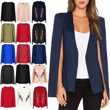 Women Open Front Sleeveless Side Split Ladies Double Layer Blazer Coat Cape Top