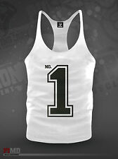 Number One No.1 Cotton Stringer Bodybuilding Gym Muscle Vest Gasp/ Zyzz NEW
