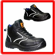NEW STYLE MENS  BLACK LIGHT- WEIGHT WORK SAFETY STEEL TOE CAP TRAINERS BOOTS